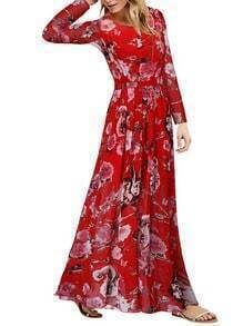 Red Round Neck Owl Print Chiffon Dress