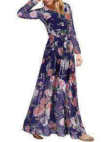 Blue Round Neck Owl Print Chiffon Dress
