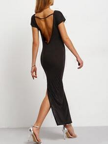 Black Short Sleeve Backless Split Maxi Dress