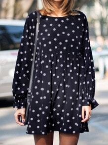 Navy Round Neck Polka Dot Loose Dress