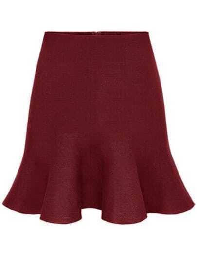 Burgundy High Waist Ruffle Slim Skirt