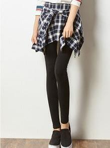 Black White Elastic Waist Plaid Skirt Leggings