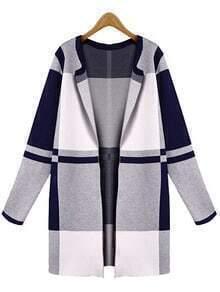 Black Grey Long Sleeve Plaid Coat
