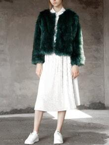Dark Green Faux Fur Crop Coat