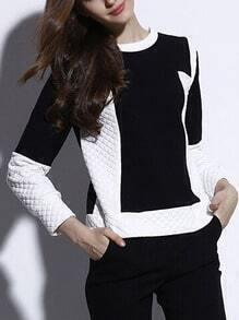 Colour-block Diamond Patterned Crop Sweatshirt