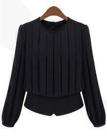 Black Round Neck Pleated Chiffon Blouse