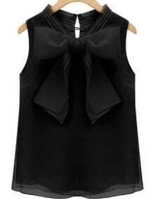 Black Bow Organza Tank Top