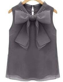 Grey Bow Organza Tank Top