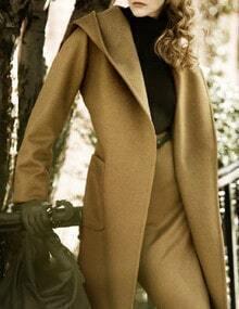 Camel Hooded Pockets Belt Long Coat