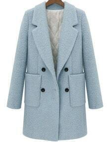 Sky Blue Lapel Double Breasted Pockets Long Coat