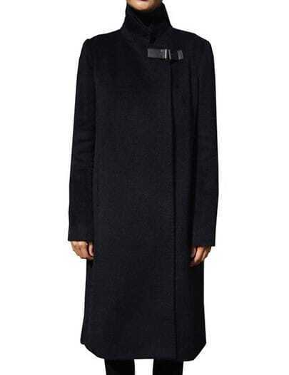 Black Stand Collar Pockets Long Coat