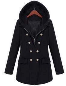 Black Hooded Zipper Double Breasted Coat