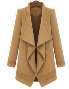 Camel Lapel Belt Long Coat