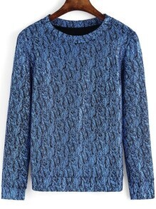 Blue Round Neck Leaves Print Sweatshirt