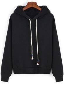 Black Hooded Drawstring Crop Sweatshirt