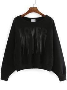 Black Round Neck Letters Print Tassel Crop Sweatshirt