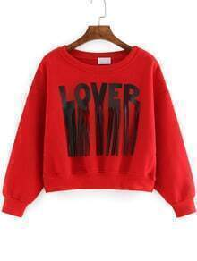 Red Round Neck Letters Print Tassel Crop Sweatshirt