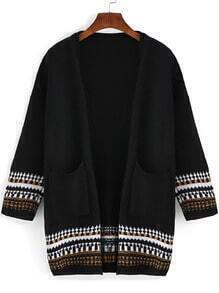 Black Long Sleeve Geometric Print Pockets Sweater