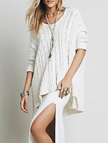 White V Neck Dip Hem Cable Knit Sweater