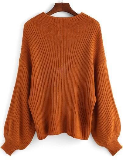 Khaki Round Neck Loose Crop Sweater