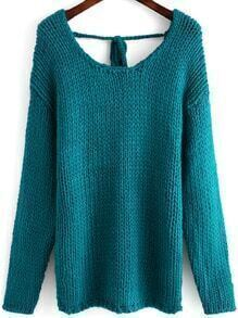 Blue Long Sleeve Backless Loose Sweater