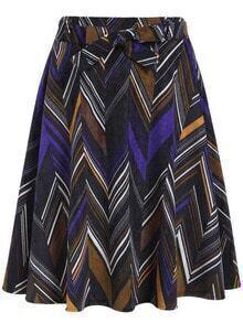 Colour Geometric Print Bow Corduroy Skirt