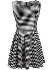 Black White Sleeveless Plaid Slim Dress