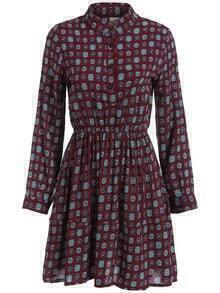 Red Stand Collar Tribal Print Dress
