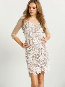 White Sheer Mesh Floral Crochet Lace Dress