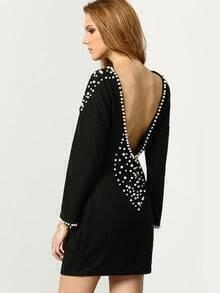 Black Round Neck Bead Backless Dress
