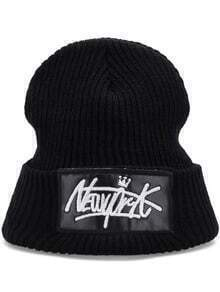 Black Letters Embroidered Sweater Hat