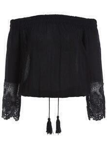 Black Off the Shoulder Lace Crop Blouse
