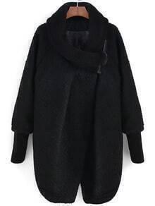 Black Shawl Collar Long Sleeve Woolen Coat