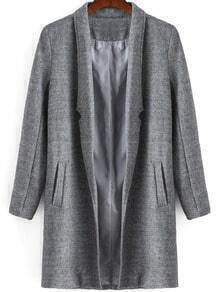 Grey Lapel Long Sleeve Loose Woolen Coat