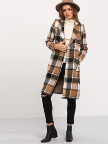 Black Coffee Long Sleeve Plaid Coat