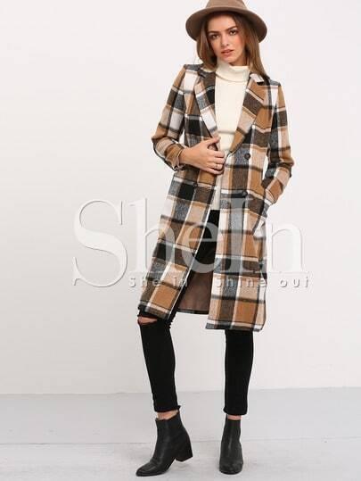 Black Coffee Long Sleeve Plaid Coat