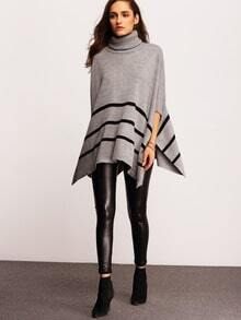 Grey High Neck Striped Sweater