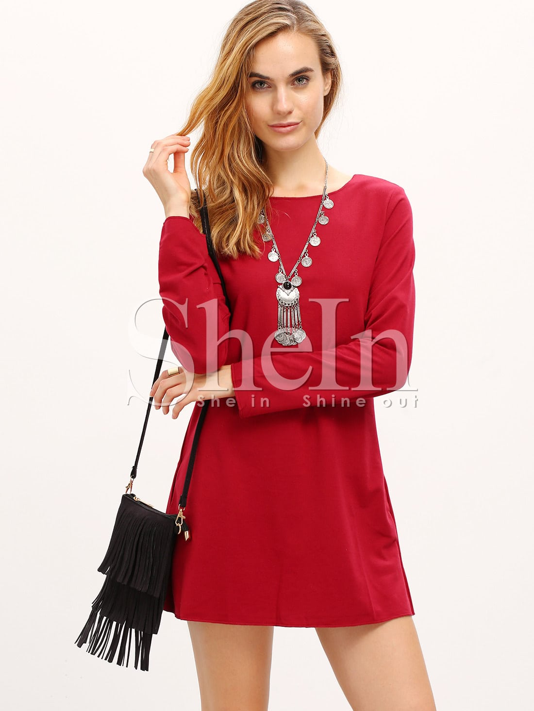 Burgundy Long Sleeve Round Neck T-ShirtBurgundy Long Sleeve Round Neck T-Shirt<br><br>color: Burgundy<br>size: XS