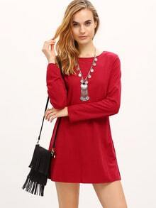 Burgundy Long Sleeve Round Neck T-Shirt