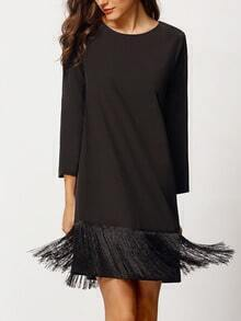 Black Long Sleeve Tassel Dress