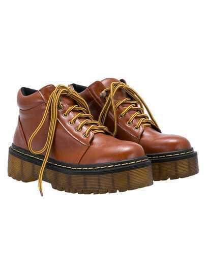 Brown Thick-soled Round Toe PU Boots