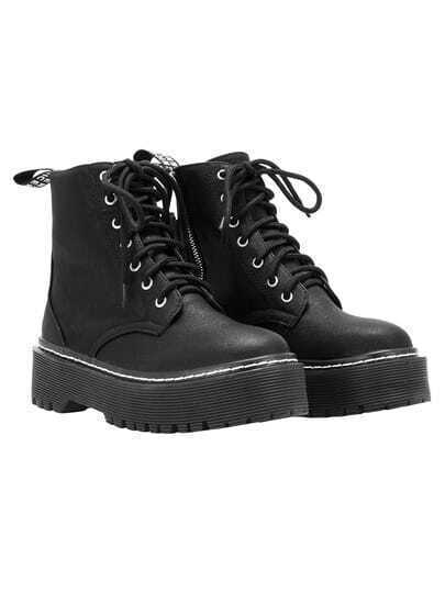 Black Thick-soled PU Boots