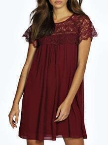 Burgundy Crochet Lace Shoulder Swing Dress