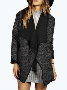 Grey Long Sleeve Boucle Waterfall Coat