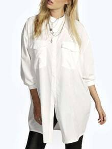 White Stand Collar Pockets Boyfriend Shirt