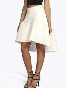 White Striped Midi Flare Skirt