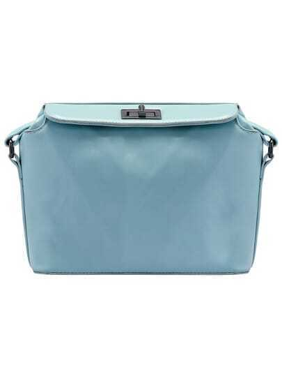 Turquoise Twist Lock PU Satchel Bag