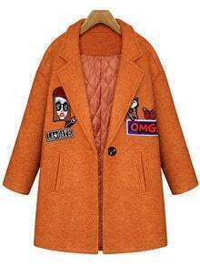 Camel Lapel Cartoon Patterned Woolen Coat