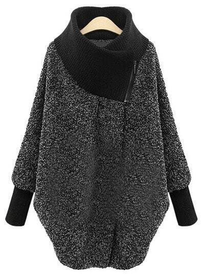 Grey High Neck Zipper Loose Coat