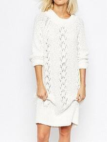 White Round Neck Hollow Sweater Dress